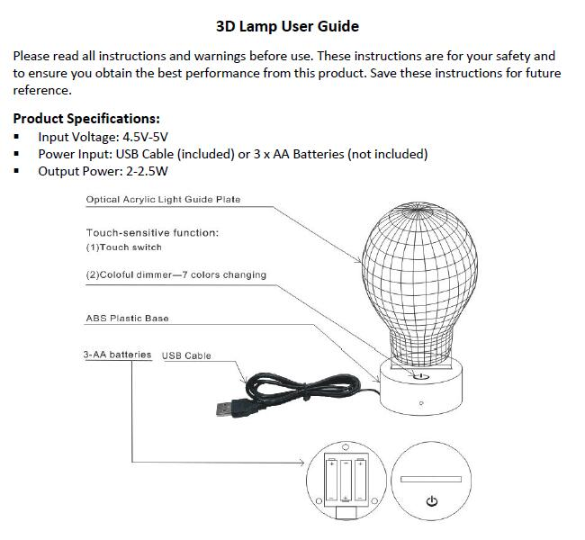3d lamp user manual
