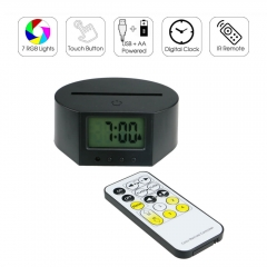 Mini Clock LED Lamp Base RGB Lights IR Remote TDL-D