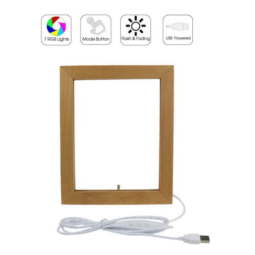Mini Wood LED Photo Frame 3D Lamp RGB Lights USB Powered TDL-F17