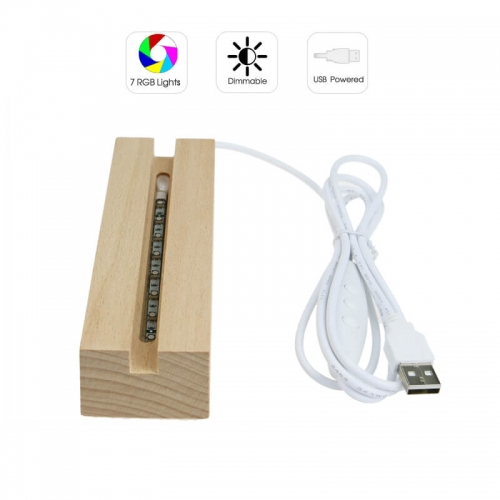 Rectangle Wood LED Base RGB Lights USB Powered TDL-WS