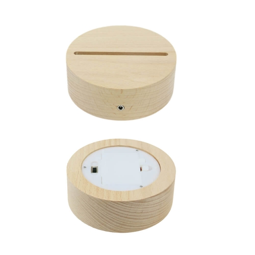 Round Solid Wood LED Lamp Base USB Powered AAA Battery Bin TDL-WB